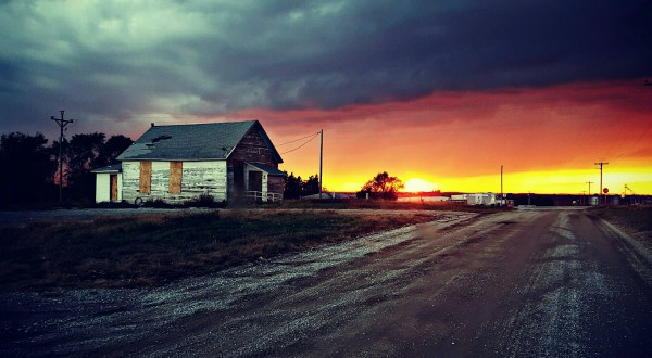 Sunset at the Lunchbucket Cafe, outside of Plattsmouth, Nebraska-Eklund