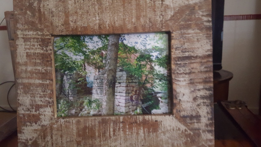 5x7 Metallic Original Photo of Old Blue Mill in Distressed Wood Frame